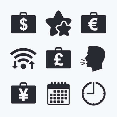 diplomat: Businessman case icons. Cash money diplomat signs. Dollar, euro and pound symbols. Wifi internet, favorite stars, calendar and clock. Talking head. Vector