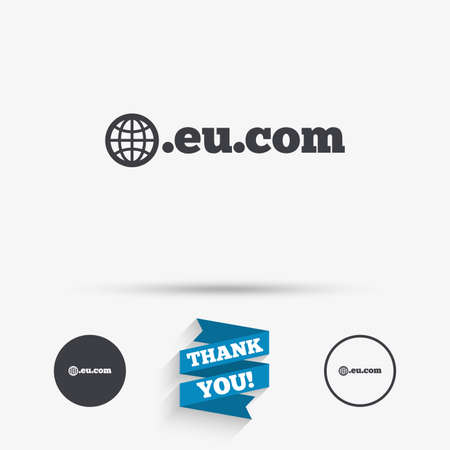 subdomain: Domain EU.COM sign icon. Internet subdomain symbol with globe. Flat icons. Buttons with icons. Thank you ribbon. Vector