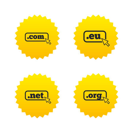 dns: Top-level internet domain icons. Com, Eu, Net and Org symbols with cursor pointer. Unique DNS names. Yellow stars labels with flat icons. Vector Illustration