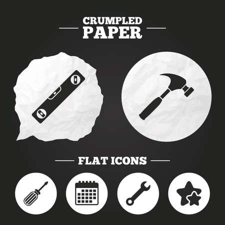 Verfrommeld papier tekstballon. Schroevendraaier en sleutel sleutel gereedschapspictogrammen. Bellenniveau en hamertekensymbolen. Papieren knop. Vector Vector Illustratie