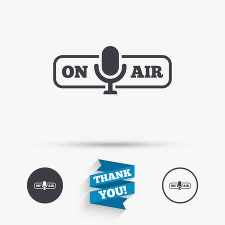 live stream sign: On air sign icon. Live stream symbol. Microphone symbol. Flat icons. Buttons with icons. Thank you ribbon. Vector