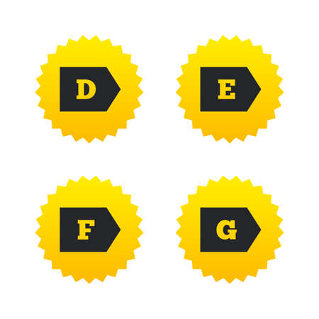 d offer: Energy efficiency class icons. Energy consumption sign symbols. Class D, E, F and G. Yellow stars labels with flat icons. Vector