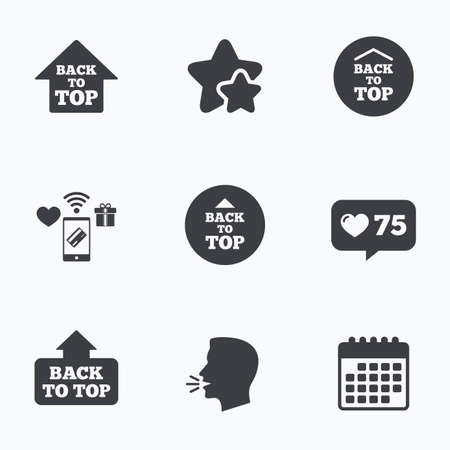 scroll up: Back to top icons. Scroll up with arrow sign symbols. Flat talking head, calendar icons. Stars, like counter icons. Vector