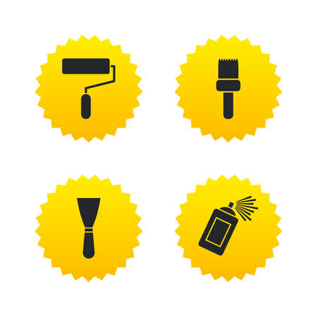 Paint roller, brush icons. Spray can and Spatula signs. Wall repair tool and painting symbol. Yellow stars labels with flat icons. Vector