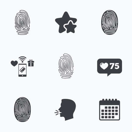 dabs: Fingerprint icons. Identification or authentication symbols. Biometric human dabs signs. Flat talking head, calendar icons. Stars, like counter icons. Vector Illustration