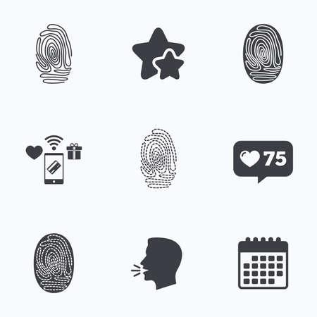 biometric: Fingerprint icons. Identification or authentication symbols. Biometric human dabs signs. Flat talking head, calendar icons. Stars, like counter icons. Vector Illustration