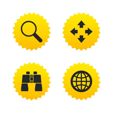 fullscreen: Magnifier glass and globe search icons. Fullscreen arrows and binocular search sign symbols. Yellow stars labels with flat icons. Vector