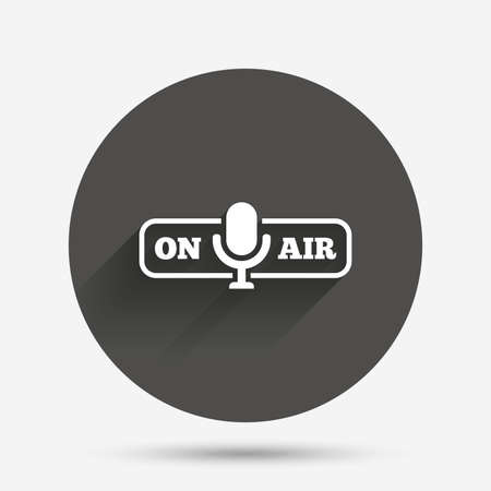 live stream radio: On air sign icon. Live stream symbol. Microphone symbol. Circle flat button with shadow. Vector Illustration