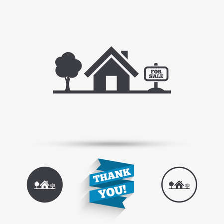 house for sale: Home sign icon. House for sale. Broker symbol. Flat icons. Buttons with icons. Thank you ribbon. Vector