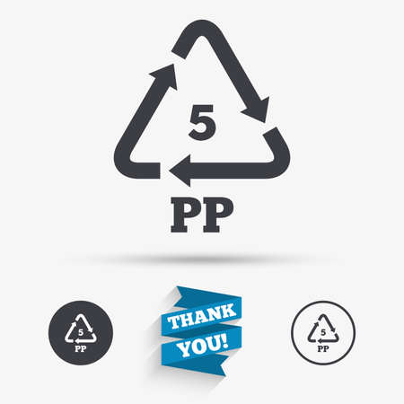 polymer: PP 5 icon. Polypropylene thermoplastic polymer sign. Recycling symbol. Flat icons. Buttons with icons. Thank you ribbon. Vector