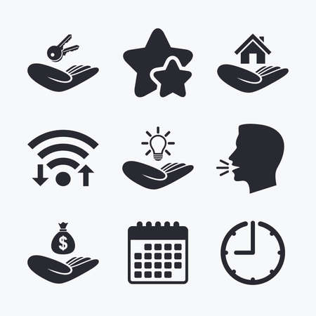 patent key: Helping hands icons. Financial money savings insurance symbol. Home house or real estate and lamp, key signs. Wifi internet, favorite stars, calendar and clock. Talking head. Vector Illustration