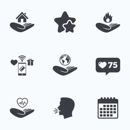 救いの手のアイコン。健康と旅行旅行保険記号。ホームの家または不動産の符号。防火します。フラット トーキング ヘッド、カレンダー アイコン