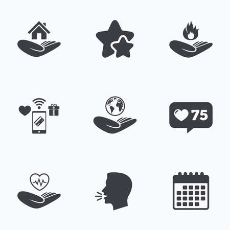 head protection: Helping hands icons. Health and travel trip insurance symbols. Home house or real estate sign. Fire protection. Flat talking head, calendar icons. Stars, like counter icons. Vector