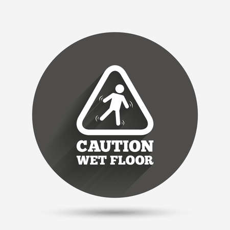 wet floor sign: Caution wet floor sign icon. Human falling triangle symbol. Circle flat button with shadow. Vector