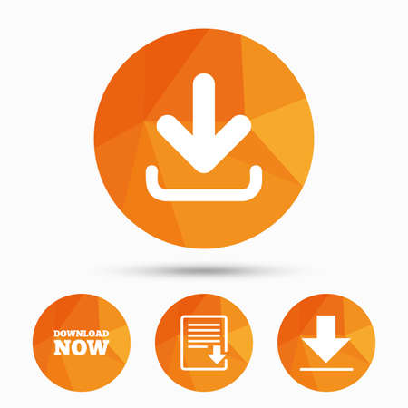 Download now icon. Upload file document symbol. Receive data from a remote storage signs. Triangular low poly buttons with shadow. Vector Illustration