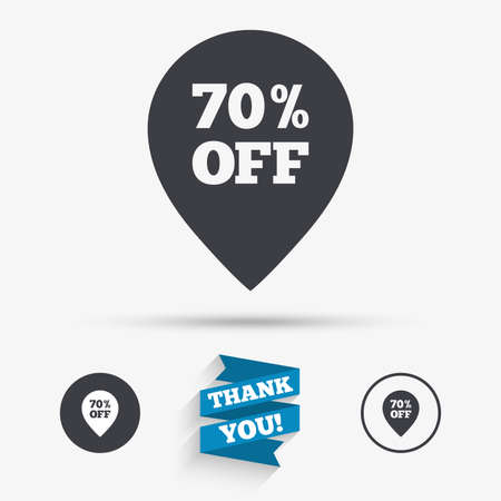 you are special: 70% sale pointer tag sign icon. Discount symbol. Special offer label. Flat icons. Buttons with icons. Thank you ribbon. Vector