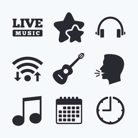 Musical elements icons. Musical note key and Live music symbols. Headphones and acoustic guitar signs. Wifi internet, favorite stars, calendar and clock. Talking head. Vector