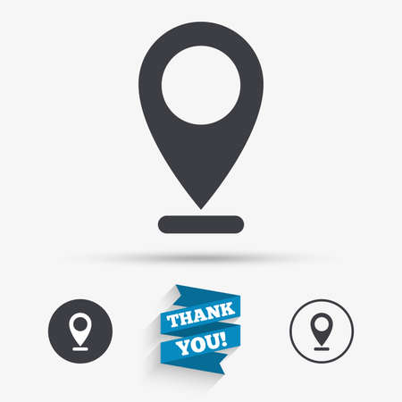 internet mark: Internet mark icon. Navigation pointer symbol. Position marker sign. Flat icons. Buttons with icons. Thank you ribbon. Vector