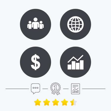 friend chart: Business icons. Graph chart and globe signs. Dollar currency and group of people symbols. Chat, award medal and report linear icons. Star vote ranking. Vector