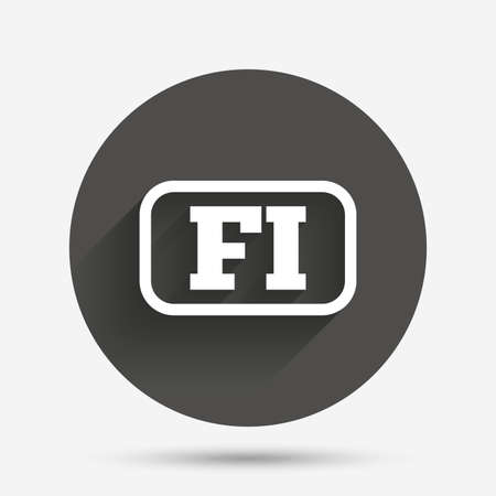 finnish: Finnish language sign icon. FI Finland translation symbol with frame. Circle flat button with shadow. Vector Illustration