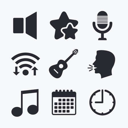 voices: Musical elements icons. Microphone and Sound speaker symbols. Music note and acoustic guitar signs. Wifi internet, favorite stars, calendar and clock. Talking head. Vector