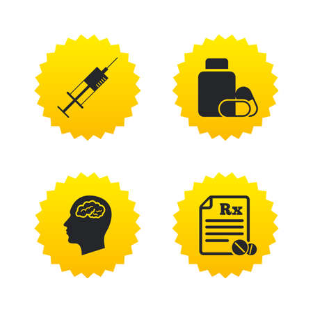 rx: Medicine icons. Medical tablets bottle, head with brain, prescription Rx and syringe signs. Pharmacy or medicine symbol. Yellow stars labels with flat icons. Vector Illustration