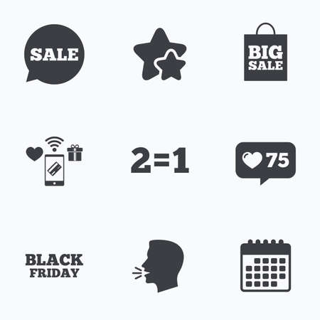equals: Sale speech bubble icons. Two equals one. Black friday sign. Big sale shopping bag symbol. Flat talking head, calendar icons. Stars, like counter icons. Vector Illustration
