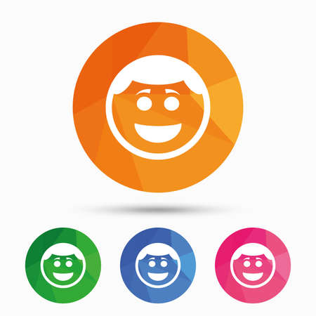 triangular eyes: Smile face sign icon. Happy smiley with hairstyle chat symbol. Triangular low poly button with flat icon. Vector