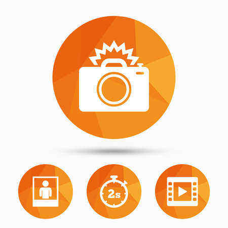 seconds: Photo camera icon. Flash light and video frame symbols. Stopwatch timer 2 seconds sign. Human portrait photo frame. Triangular low poly buttons with shadow. Vector