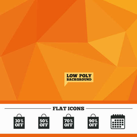 reductions: Triangular low poly orange background. Sale bag tag icons. Discount special offer symbols. 30%, 50%, 70% and 90% percent off signs. Calendar flat icon. Vector Illustration