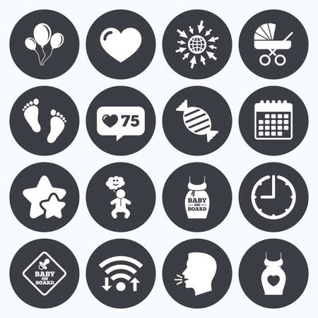 newborn footprint: Calendar, wifi and clock symbols. Like counter, stars symbols. Pregnancy, maternity and baby care icons. Newborn, strollers and pacifier signs. Footprint, candy and love symbols. Talking head, go to web symbols. Vector