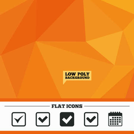 checkbox: Triangular low poly orange background. Check icons. Checkbox confirm squares sign symbols. Calendar flat icon. Vector
