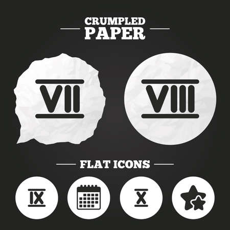 ancient roman: Crumpled paper speech bubble. Roman numeral icons. 7, 8, 9 and 10 digit characters. Ancient Rome numeric system. Paper button. Vector
