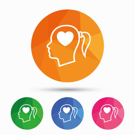 pigtail: Head with heart sign icon. Female woman human head in love with pigtail symbol. Triangular low poly button with flat icon. Vector