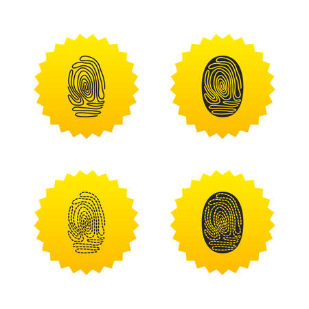 dabs: Fingerprint icons. Identification or authentication symbols. Biometric human dabs signs. Yellow stars labels with flat icons. Vector Illustration
