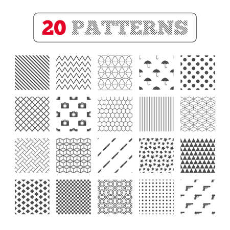 edged: Ornament patterns, diagonal stripes and stars. Gun weapon icon.Knife, umbrella and photo camera signs. Edged hunting equipment. Prohibition objects. Geometric textures. Vector Illustration