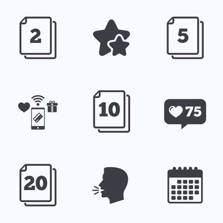2 5: In pack sheets icons. Quantity per package symbols. 2, 5, 10 and 20 paper units in the pack signs. Flat talking head, calendar icons. Stars, like counter icons. Vector