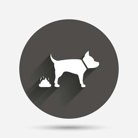 feces: Feces sign icon. Clean up after pets symbol. Put it in the bag. Circle flat button with shadow. Vector Illustration