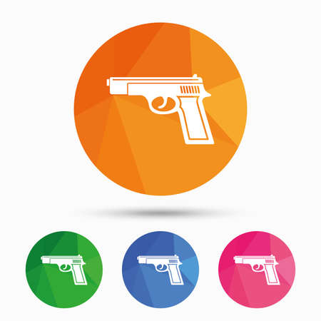 firearms: Gun sign icon. Firearms weapon symbol. Triangular low poly button with flat icon. Vector