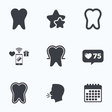 head protection: Tooth enamel protection icons. Dental care signs. Healthy teeth symbols. Flat talking head, calendar icons. Stars, like counter icons. Vector Illustration