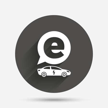 sedan: Electric car sign icon. Sedan saloon symbol. Electric vehicle transport. Circle flat button with shadow. Vector