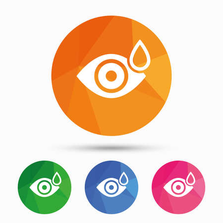 triangular eyes: Eye with water drop sign icon. Drip into the eyes symbol. Triangular low poly button with flat icon. Vector Illustration