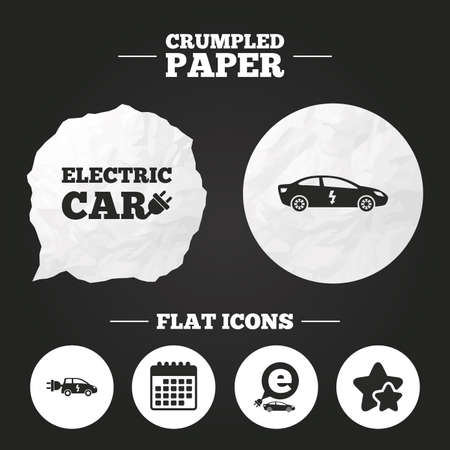 hatchback: Crumpled paper speech bubble. Electric car icons. Sedan and Hatchback transport symbols. Eco fuel vehicles signs. Paper button. Vector
