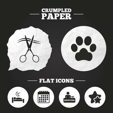quiet room: Crumpled paper speech bubble. Hotel services icons. With pets allowed in room signs. Hairdresser or barbershop symbol. Reception registration table. Quiet sleep. Paper button. Vector Illustration