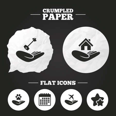 shelter: Crumpled paper speech bubble. Helping hands icons. Shelter for dogs symbol. Home house or real estate and key signs. Flight trip insurance. Paper button. Vector Illustration