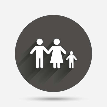 family with one child: Family with one child sign icon. Complete family symbol. Circle flat button with shadow. Vector Illustration