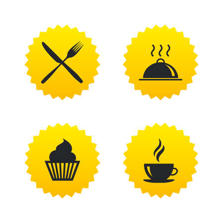 Food and drink icons. Muffin cupcake symbol. Fork and knife sign. Hot coffee cup. Food platter serving. Yellow stars labels with flat icons. Vector