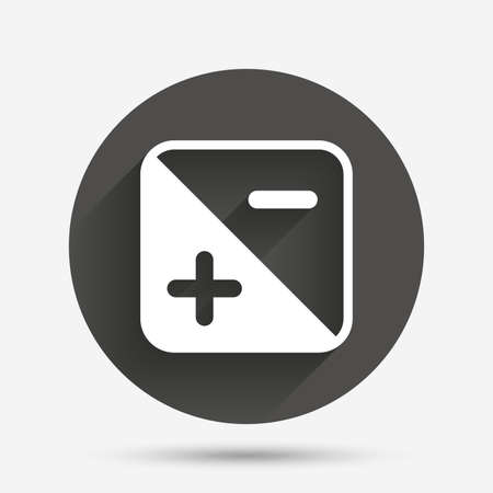 luminance: Exposure photo camera sign icon. Quantity of light settings. Circle flat button with shadow. Vector