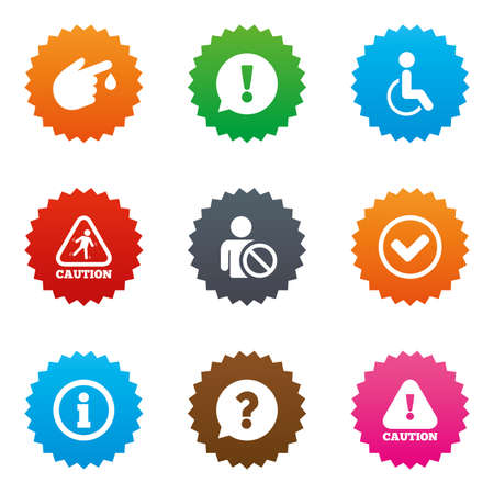 wet floor sign: Caution and attention icons. Question mark and information signs. Injury and disabled person symbols. Stars label button with flat icons. Vector