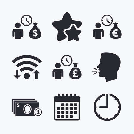 borrow: Bank loans icons. Cash money bag symbols. Borrow money sign. Get Dollar money fast. Wifi internet, favorite stars, calendar and clock. Talking head. Vector Illustration